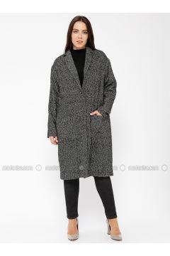 Gray - Multi - Unlined - Shawl Collar - Wool Blend - Cotton - Coat - Minimal Moda(110331290)