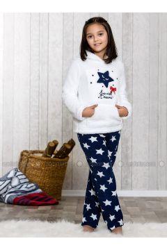 Navy Blue - Crew neck - Multi - Kids Pijamas - Lingabooms(110313132)