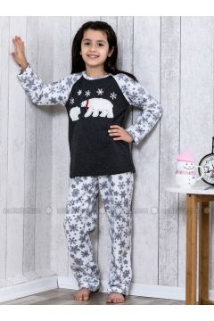 Navy Blue - Crew neck - Multi - Kids Pijamas - Lingabooms(100960592)