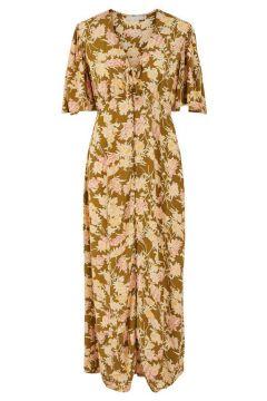 PIECES Bloemenprint Maxi Jurk Dames Brown; Yellow(114505030)