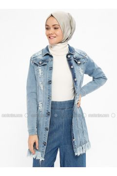 Blue - Unlined - Point Collar - Denim - Jacket - Loreen By Puane(110322534)