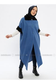 Indigo - Point Collar - Unlined - Poncho - Beha Tesettür(110336725)