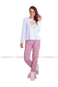 White - Crew neck - Multi - Pyjama - Meliana(110314572)