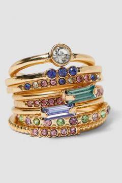 6er-Set Ringe mit farbigen Glassteinchen Gelb(113908451)