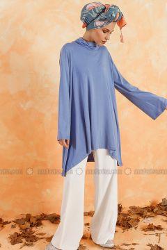 Baby Blue - Polo neck - Cotton - Tunic - Muni Muni(110333265)