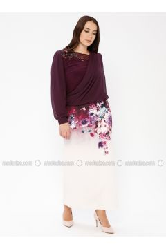 Purple - Multi - Fully Lined - Boat neck - Muslim Plus Size Evening Dress - Le Mirage(110337487)