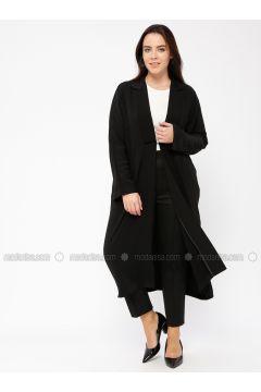Black - Unlined - Shawl Collar - Jacket - Minimal Moda(110331279)