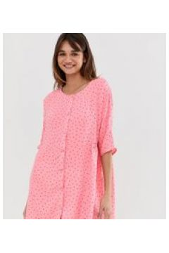 Monki - Mini-Hängerkleid in Rosa mit Punkteprint - Rosa(95023616)