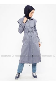 Gray - Unlined - Point Collar - Cotton - Trench Coat - Neways(110317841)