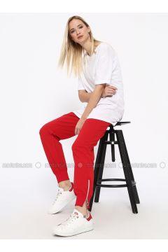 Red - Cotton - Tracksuit Bottom - Missemramiss(110330922)
