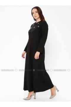 Black - Unlined - Crew neck - Plus Size Dress - EFE FERACE(110337656)