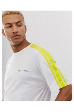 Liquor N Poker - Übergroßes T-Shirt in Weiß mit neongrünen Streifen - Weiß(93446682)