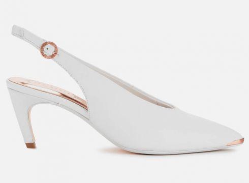 Ted Baker Women\'s Hulia Leather Sling Back Kitten Heels - White - UK 4 - Weiß(81753259)
