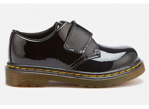 Dr. Martens Toddlers\' Kamron T Patent Lamper Single Velcro Flats - Black - UK 3 Toddler - Schwarz(51893423)