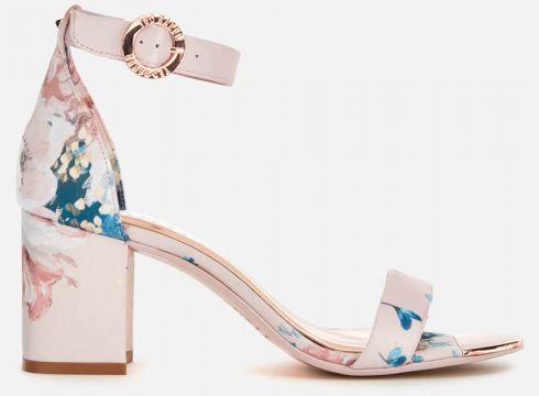 Ted Baker Women\'s Manyah Satin Block Heeled Sandals - Light Pink - UK 3 - Rosa(89244759)