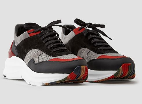 883 Police Quinto Black Red Mens Sneakers, Designer Trainers(85139125)