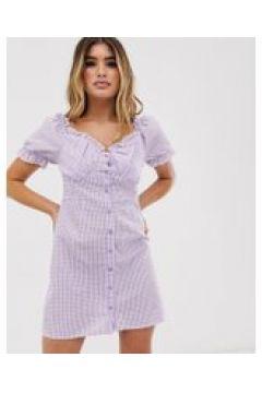 Missguided - Milkmaid - Kleid mit Vichykaros in Flieder - Violett(93962266)