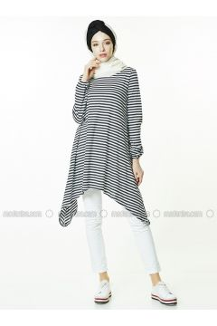 Gray - Stripe - Crew neck - Tunic - Gippe Collection(110313430)