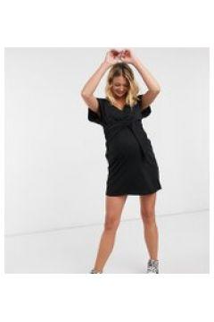 Esclusiva ASOS DESIGN Maternity - Nursing - Vestito corto allacciato sul davanti e scollo a V nero(120791585)