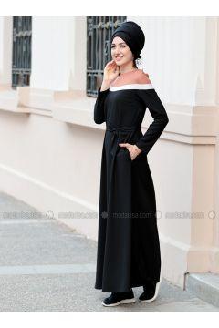 Black - Crew neck - Unlined - Dresses - Gamze Özkul(110335090)