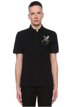 Alexander McQueen Erkek Siyah Polo Yaka Figür İşlemeli T-shirt XL EU(107864128)