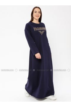 Navy Blue - Unlined - Crew neck - Plus Size Dress - Ginezza(110336804)