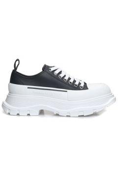 Alexander McQueen Kadın Beyaz Antrasit Logolu Deri Sneaker Gri 35 EU(127545717)