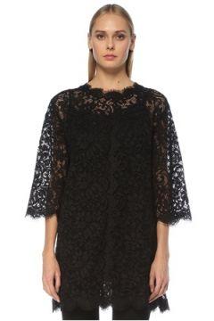 Dolce&Gabbana Kadın Siyah Truvakar Kol Dantel Tunik 42 IT(127752476)