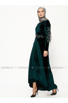 Green - Emerald - Crew neck - Unlined - Dresses - BÜRÜN(110316599)