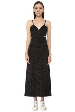 Kenzo Kadın Siyah Kalp Yaka Simli Fırfırlı Midi Elbise M EU(116947977)