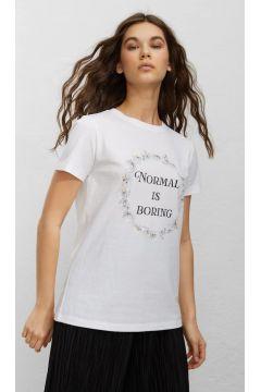 Stradivarius T-shirt met korte mouw en print DAMES Wit XS(116999942)