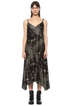 Allsaints Kadın Assam Siyah Desenli Asimetrik Midi Elbise 0 US(124607203)
