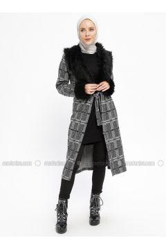 Gray - Smoke-coloured - Multi - Unlined - V neck Collar - Topcoat - Dadali(110331673)