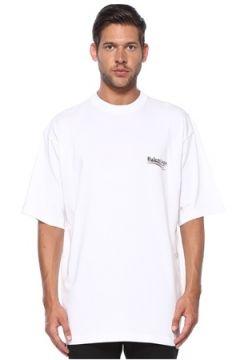 Balenciaga Erkek Beyaz Bisiklet Yaka Logolu T-shirt XXS EU(119943002)