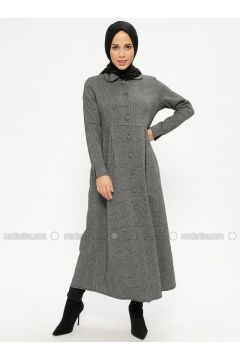 Gray - Plaid - Unlined - Round Collar - Topcoat - ZENANE(110332364)
