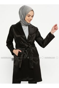 Black - Unlined - Shawl Collar - Cotton - Trench Coat - Meys(110336716)