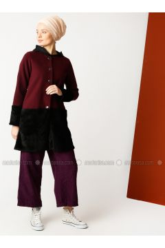 Maroon - Unlined - Crew neck - Cotton - Jacket - Meryem Acar(110327067)