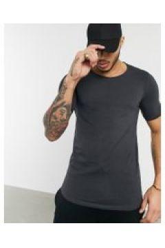 Bershka - Join Life - T-shirt slim in cotone organico antracite-Grigio(120507400)