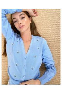 Heartbreak - Cardigan blu con ricamo a fiori(123070342)