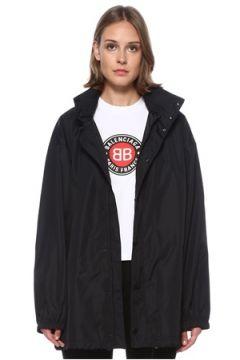 Balenciaga Kadın Siyah Kapüşonlu Logo Baskılı Yağmurluk 34 FR(122583454)