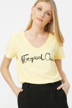 Only Sarı Baskılı T-Shirt(117655017)