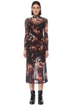 Allsaints Kadın Hanna Flames Siyah Dik Yaka Midi Elbise 0 UK(126795841)