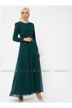Green - Fully Lined - Crew neck - Muslim Plus Size Evening Dress - Sevdem Abiye(110323348)