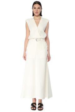 Brunello Cucinelli Kadın Beyaz V Yaka Kemerli Kolsuz Maksi Elbise S EU(127770373)