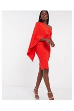 Esclusiva Lavish Alice - Vestito midi con mantella monospalla rosso(120301089)