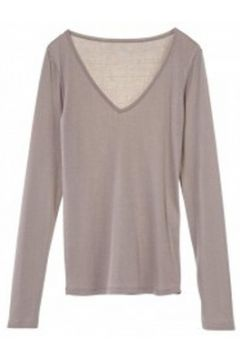 T-shirt Petit Bateau T-shirt Femme Col V en Coton léger Marron Taupe(115471003)