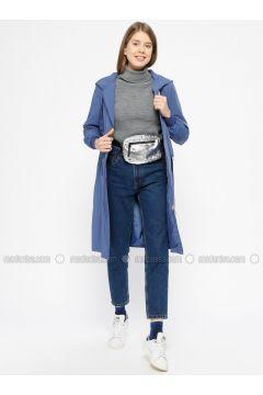 Blue - Indigo - Fully Lined - Topcoat - İkoll(110319961)