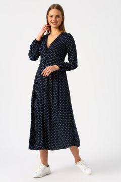 Only V Yaka Desenli Lacivert Elbise(113979053)