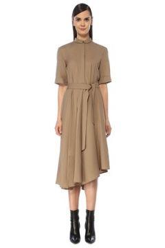 Brunello Cucinelli Kadın Bej Hakim Yaka Asimetrik Midi Yün Elbise S IT(119136983)