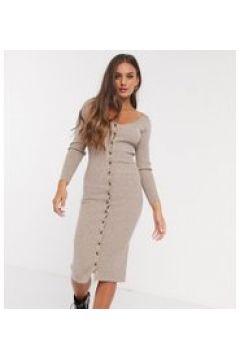 Fashion Union Petite - Vestito midi in maglia con abbottonatura frontale-Beige(121236941)